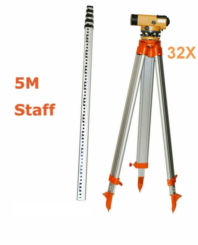 32X Automatic level+Tripod +5M Staff for Surveying With Carry Case