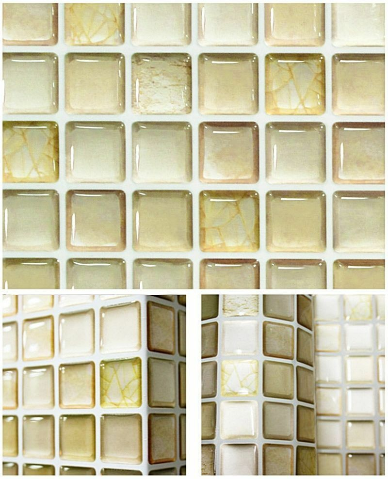 HOME BATHROOM KITCHEN Wall Decor 3D Stickers Wallpaper Tile Beige ...