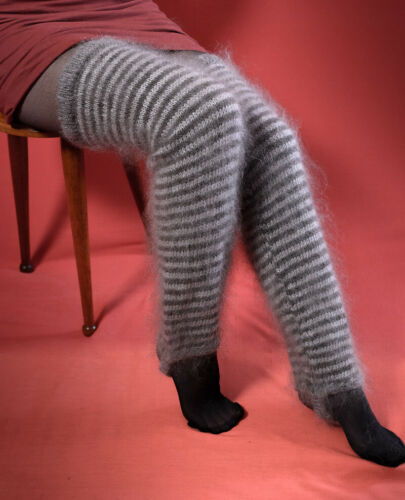 Striped Gaiters Ladies Knit High Knee Leg Warmers goat down cashmere mohair warm
