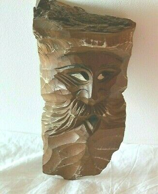 VINTAGE WEIRD GERMAN BLACK FOREST STYLE CARVED WOODEN HEAD MAN WALL PLAQUE