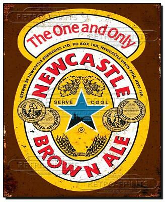 NEWCASTLE BROWN ALE Metal wall sign retro advert/print great for bar or man cave