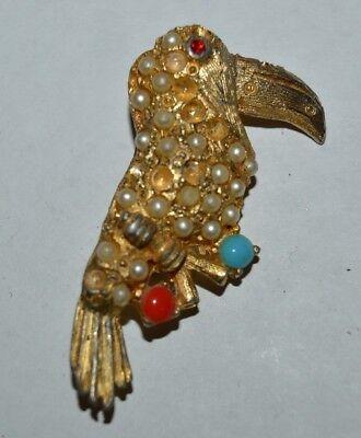 Vintage 1960s TUCAN Bird Costume Jewelry Golden Brooch Pin FAIR - Tucan Costume