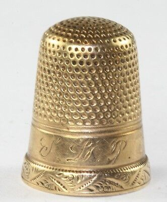 VICTORIAN ANTIQUE 14K GOLD THIMBLE FANCY BORDER EDGE SIZE 7