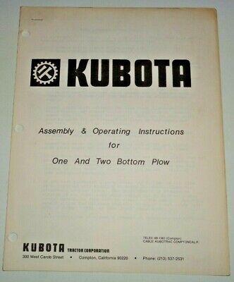 Kubota One Two Bottom Plow Assembly Operators Parts Manual Catalog