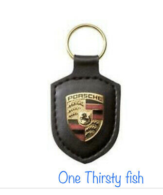 GENUINE PORSCHE CREST Keyring Key Chain KeyFob Jet Black Leather New w/box