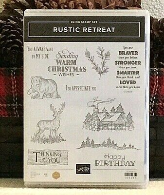 Stampin Up RUSTIC RETREAT stamp set lodge deer bear tree christmas RARE RETIRED