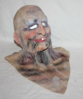 Bald Toothless Old Man Rubber Mask w/Chest Full Head Neck Scary Wrinkled Rubber - Toothless Mask