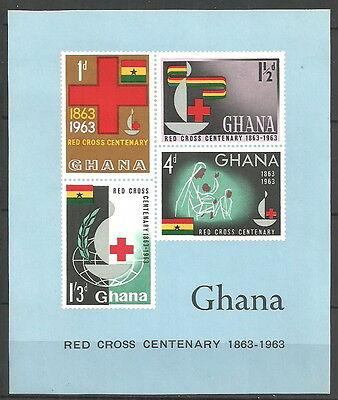 Ghana - 100 Jahre Int. Rotes Kreuz Block 8 postfrisch 1963  Mi.Nr.145-148