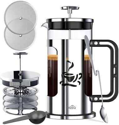 34oz BASA French Press Coffee Maker with 4 Level Filtration Borosilicate Glass