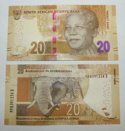 SOUTH AFRICA $20 RAND MANDELA FRONT, ELEPHANT BACK UNC