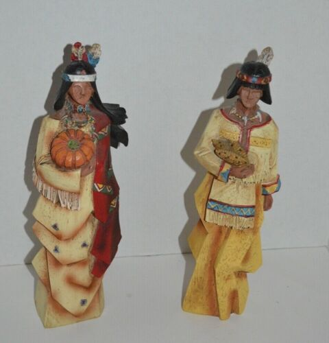 "Thanksgiving Wood 12"" American Indians Lot of 2 Figurines"