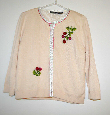 """L Extremely Rare Anthropologie Silk Cashmere Berry """"Grapes Cardigan"""" Sweater"""