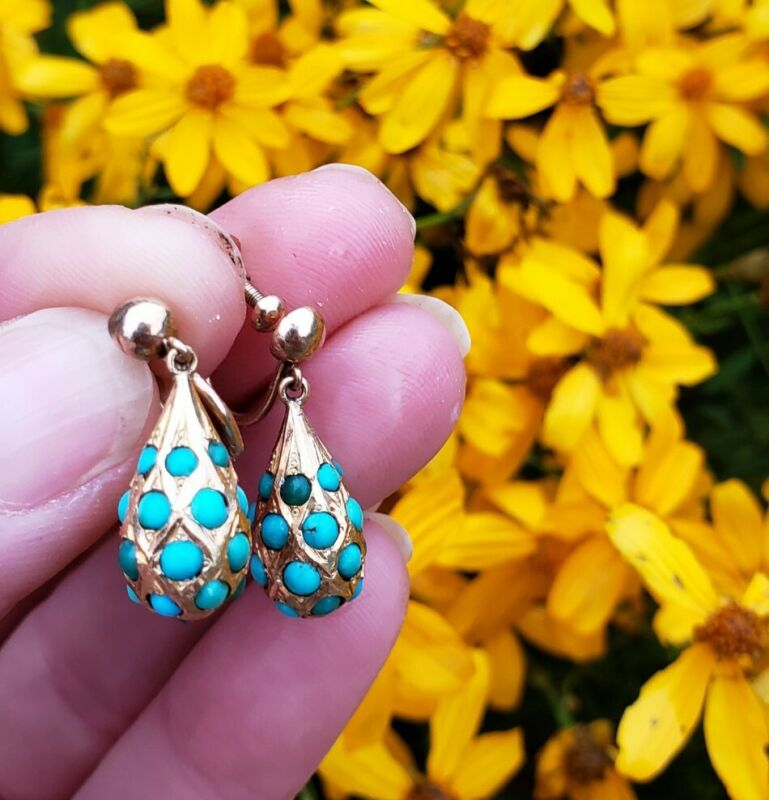 14k Victorian Persian Turquoise Drop Earrings in Yellow Gold with Screw Back
