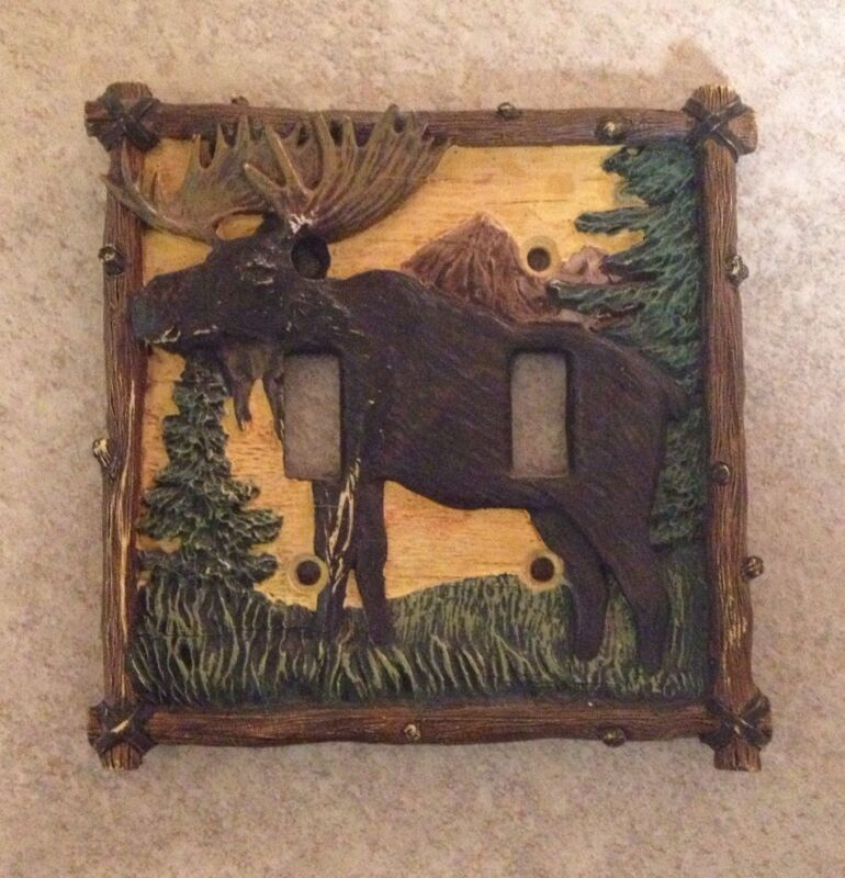 Moose rustic country double toggle plate cover cabin lodge light switch plate