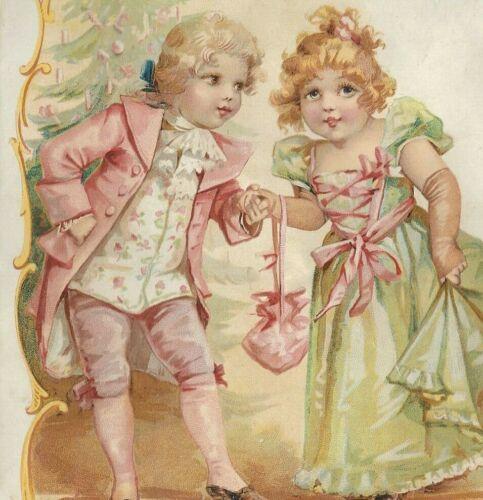 NL-023 Christmas Dance Girl Lion Coffee Woolson Spice Co Victorian Trade Card