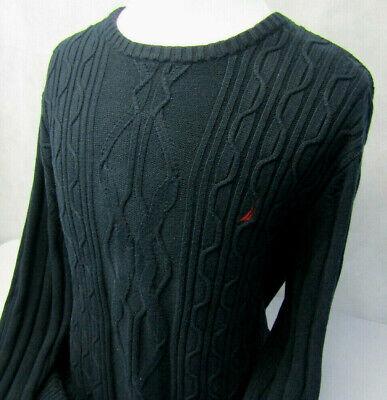 Nautica Geometric Knit L/S Crew Neck Black Warm Sailboat Logo Sweater Mens XXL