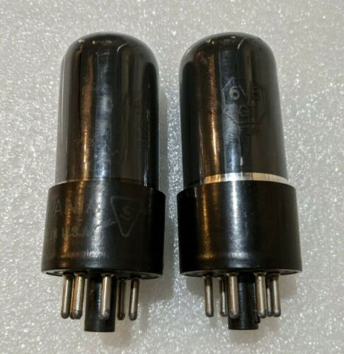 Matched Pair Sylvania 6V6GT Tubes NOS-Testing Gray & Silver Glass Black Plate