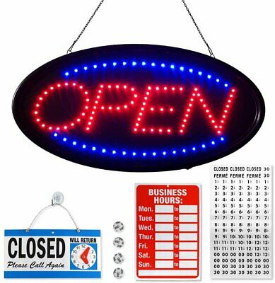 Flashing Neon Open Sign For Business - 19x10 Inches - Blue - Red