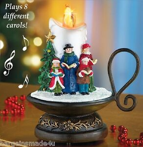 Lighted 8 song musical holiday christmas carolers choir candle tabletop decor ebay - Appealing christmas led candles for christmas decorations ...