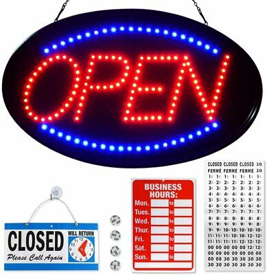 Flashing Led Neon Open Sign For Stores Businesses - Blue Red - 23 X 14 Inches