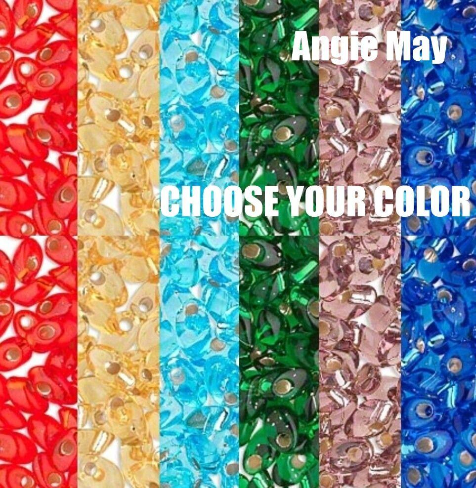 50 Grams Transparent Miyuki 7mm Long Magatama Glass Seed Beads - Pick Your Color