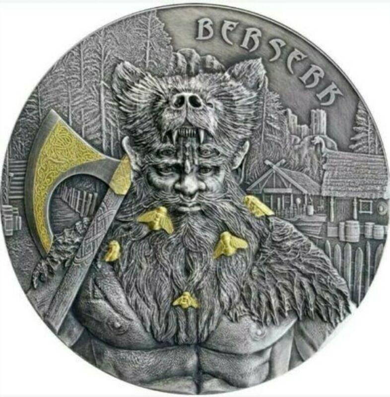 2019 2 Oz Silver Germania 10 Mark THE WARRIORS BERSERKER High Relief Coin..