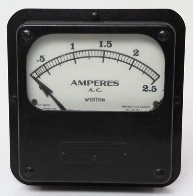 Vintage Weston 924 Amp Meter 2.5 Ac Amperes No 12501 Electrical Panel Instrument