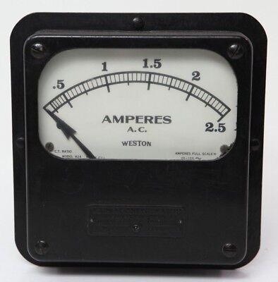 Vintage Weston 924 Amp Meter 2.5 Ac Amperes No 12501 Electrical Panel Instrument