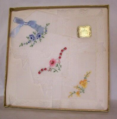 Vintage Boxed Ladies Handkerchief Set (3)  DifferentColored Embroider All Cotton