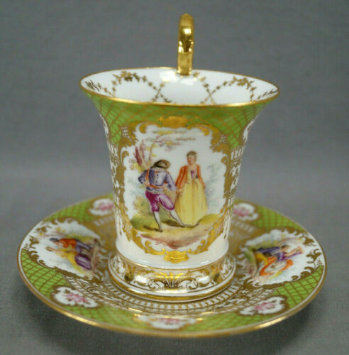 Franziska Hirsch Dresden Hand Painted Courting Couple Green & Beaded Gold Cup