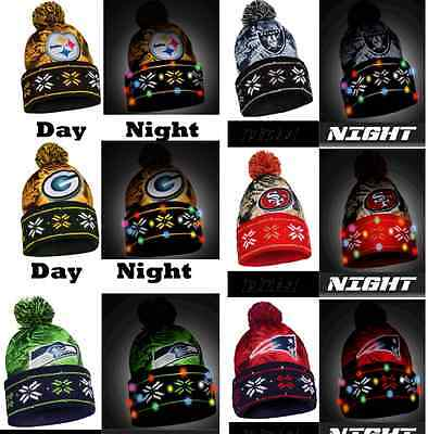 Nfl Led Light Up Big Logo Winter Christmas Beanie Forever Collectibles