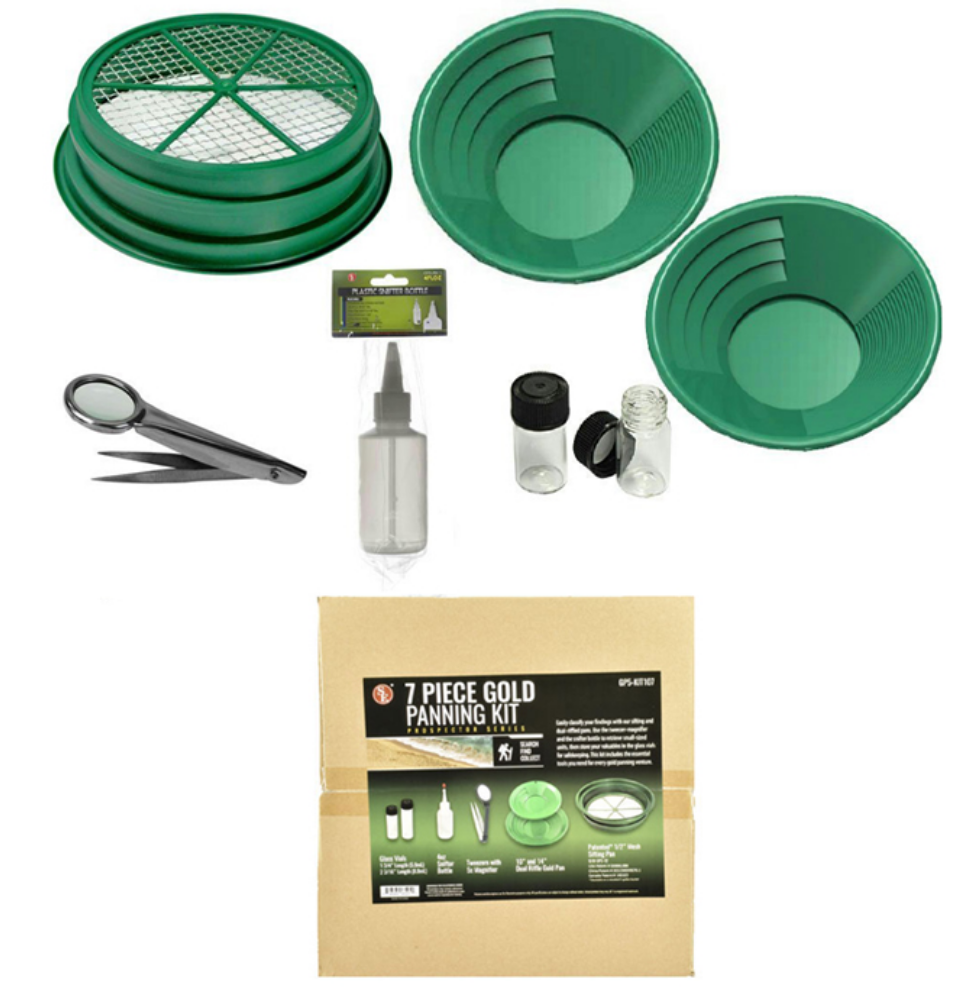 7 Pc Gold Panning Kit with Pans Scoop Vials Mesh Sifting & items