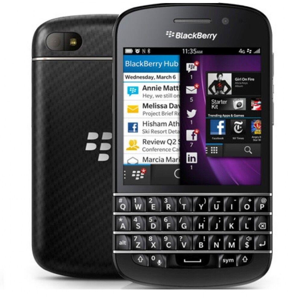 New Blackberry Q10 (SPRINT) QWERTY 4G LTE Cellular Phone Black BB OS V10.2