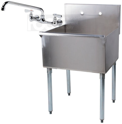 "24"" x 24"" x 14"" WITH FAUCET Stainless Steel Commercial Utility Sink Prep Laundry"