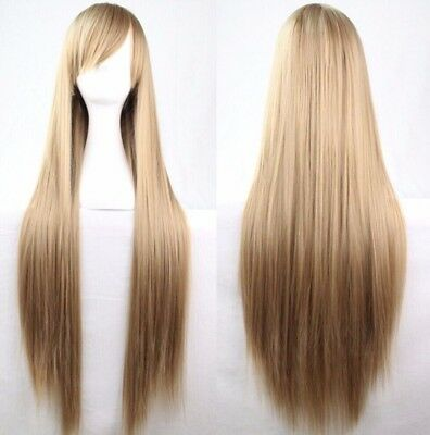 Light Brown 80cm Women Long Straight Hair Wig Fashion Costume Party Anime Cospla - Light Brown Wigs