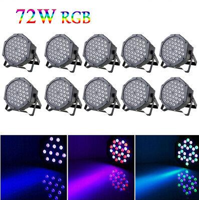 10 x 36 LED Stage Lights RGB Par Can Flat DMX512 DJ Disco Bar Uplighter Lighting