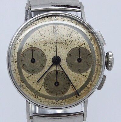 VINTAGE Girard Perregaux 30.5mm Mens Steel Chronograph Watch Universal cal.281
