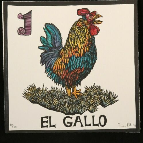 El Gallo/Rooster Lithograph Mexico Fine Art Award Winner F. Robles Sign Loteria