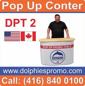Portable Promo Marketing Event Sampling Pop Up Kiosk Table Promotional Counter + CUSTOM GRAPHICS - www.DolphiesPromo.com
