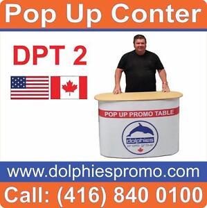 Portable Promo Marketing Event Sampling Pop Up Kiosk Table Promotional Counter + CUSTOM GRAPHICS - www.DolphiesPromo.com