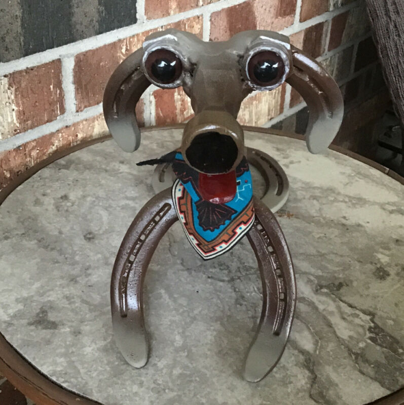 SITTING DOG HANDMADE FROM RECYCLED METAL AND HORSESHOES