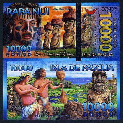 Easter Island, 10000 (10,000) Rongo, 2013 (2014), Polymer, New, UNC > Beautiful