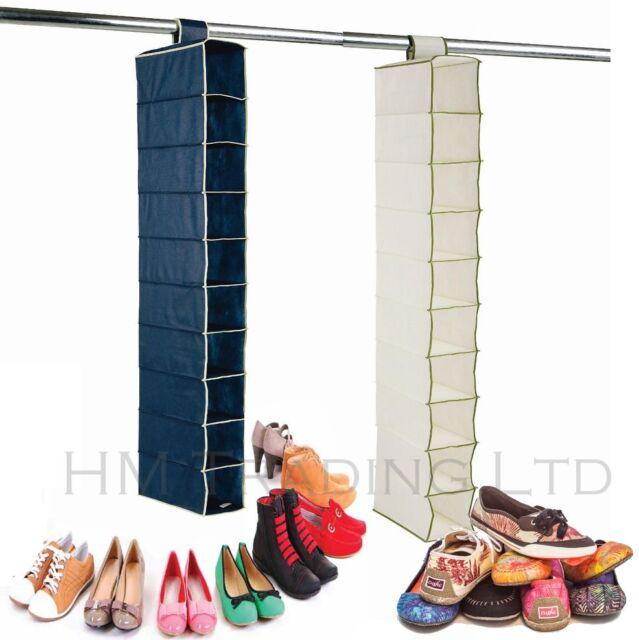 New 10 Pockets Hanging Shoe Clothes Rack Shelf Storage Wardrobe Hanger Organiser