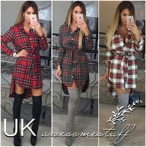 UK-Womens-Check-Shirt-Mini-Dress-Ladies-Long-Sleeve-Plaid-Romper-Dress-Size-6-14