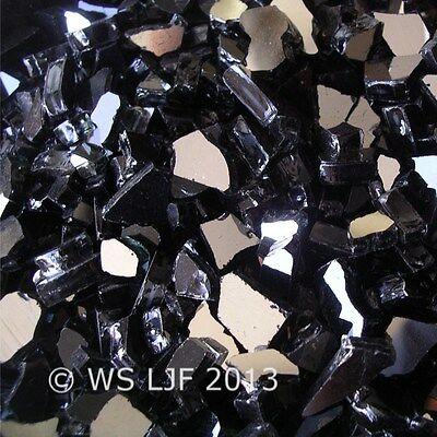 "10 LBS 1/4"" Black Reflective Fireglass Fireplace Glass Rocks"