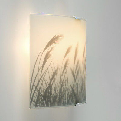 Modern White Frosted Glass Meadow Pattern Flush Wall Sconce Light Fitting Lights