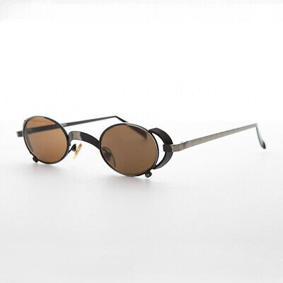 Oval Vintage Steampunk Sunglass in Bronze with Side Shields -Byron