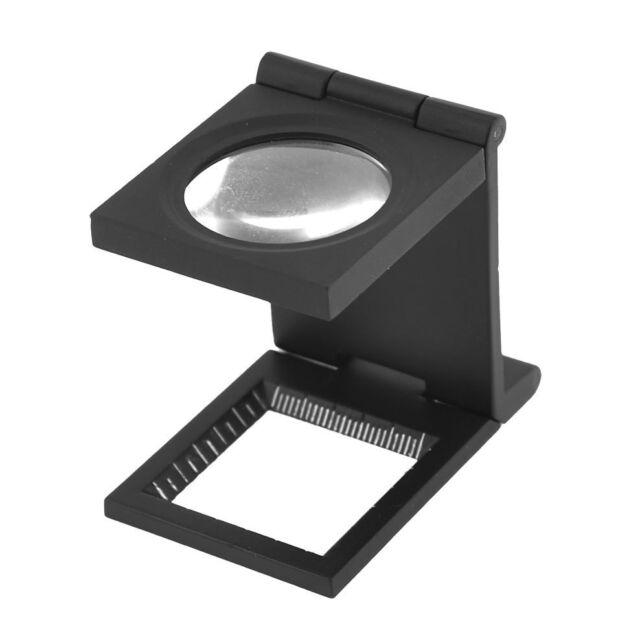 Black Metal Folding Magnifier Magnifying Glass Jewelry Loupe 10X BU