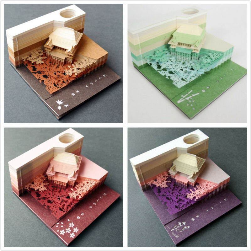 4 COLORS OMOSHIROI BLOCK SHAPE Kyoto Kiyomizudera Hana Pink Brown Green Purple