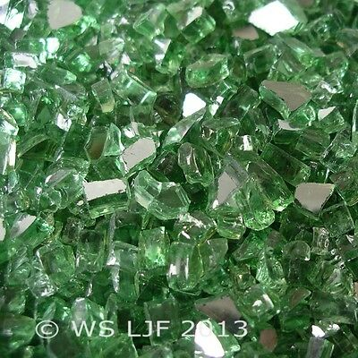"10 LBS 1/4"" Green Reflective Fireglass Fireplace Glass Rocks"